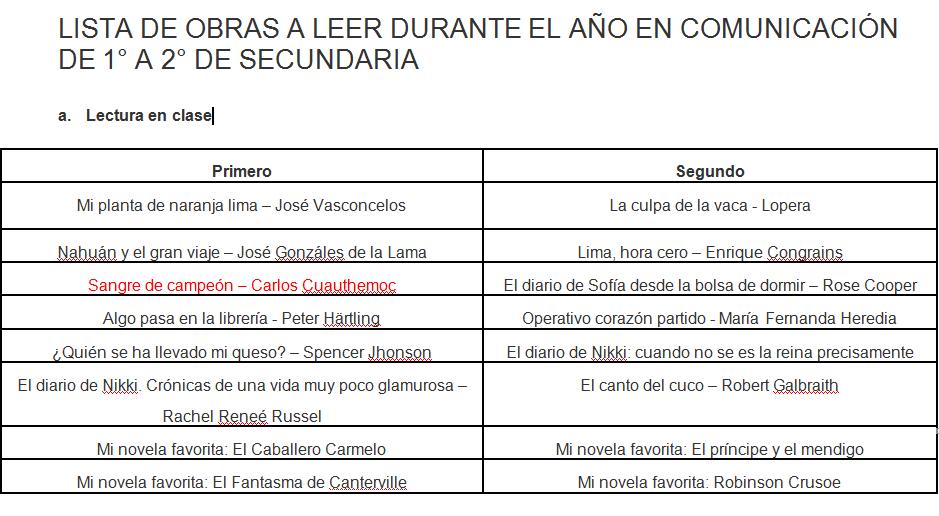 OBRAS RECOMENDADAS PARA LEER-DURANTE EL AULA