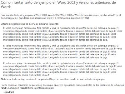 Cómo insertar texto de ejemplo en un documento de Word