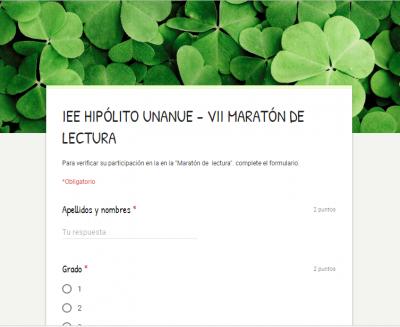 IEE HIPÓLITO UNANUE - VII MARATÓN DE LECTURA