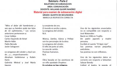 Materiales - Examen de subsanación - Quinto